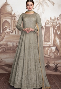 Grey Georgette Net Embroidered Anarkali Suit - 2005