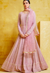 Dull Pink Georgette Embroidered Anarkali Suit - 2091