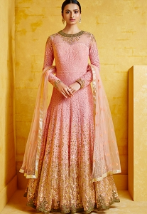 Pink Georgette Embroidered Anarkali Suit - 2092