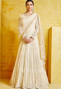 Off White Georgette Embroidered Anarkali Suit - 2093