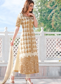 Off White Cotton Embroidered Trouser Style Suit - 2102