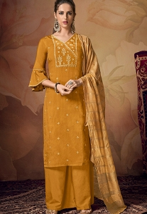 Mustard Viscose Embroidered Palazzo Suit - 2103