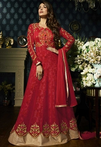 Malaika Arora Red Georgette Floor Length Anarkali Suit - 21801