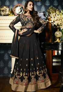 Malaika Arora Black Georgette Floor Length Anarkali Suit - 21804