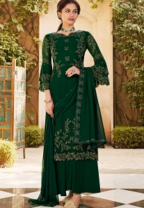 Green Georgette Embroidered Designer Palazzo Suit - 22972