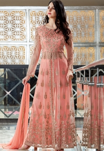 Pink Net Embroidered Palazzo Style Designer Suit - 2507