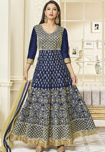 Gauhar Khan Navy Blue Mulbary Silk Embroidered Anarkali Suit - 26001B