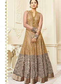 Gauhar Khan Golden & Beige Mulbary Silk Embroidered Anarkali Suit - 26004