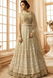 Drashti Dhami Beige Net Embroidered Floor Length Anarkali Suit - 2804