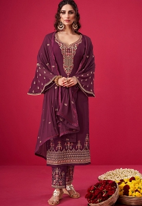 Wine Georgette Embroidered Straight Trouser Suit - 2808