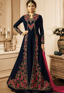 Drashti Dhami Navy Blue Georgette Long Embroidered Jacket Anarkali Suit - 2809