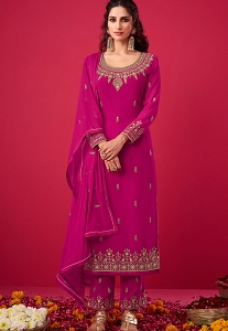 Magenta Georgette Embroidered Straight Trouser Suit - 2810