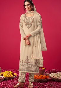 Off White Georgette Embroidered Straight Trouser Suit - 2813