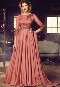 Peach Satin Floor Length Embroidered Gown - 3083