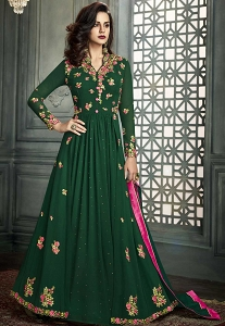 Green Georgette Long Embroidered Anarkali Suit - 31003