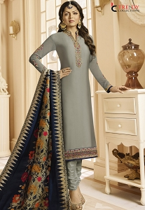 Drashti Dhami Steal Grey Satin Georgette Embroidered Churidar Suit - 3102