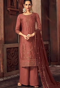 Brown Art Silk Embroidered Straight Palazzo Suit - 3103