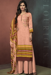 Peach Cotton Palazzo Style Suit - 3105