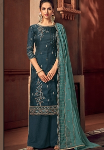 Navy Blue Art Silk Embroidered Straight Palazzo Suit - 3105