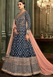Navy Blue Silk Embroidered Long Anarkali Suit - 32002