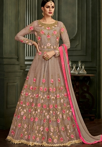 Lavish Grey Net Embroidered Long Anarkali Suit - 32003