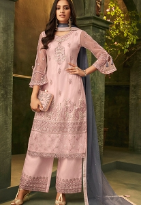 Pastel Pink Net Embroidered Palazzo Suit - 32005