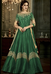 Green Silk Long Embroidered Anarkali Suit - 34002
