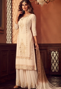 Cream Georgette Embroidered Palazzo Suit - 34002