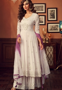 Light Grey Georgette Embroidered Palazzo Suit - 34004