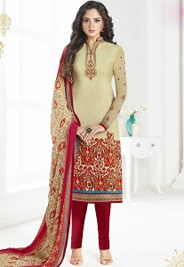 Beige French Crepe Churidar Suit - 3601