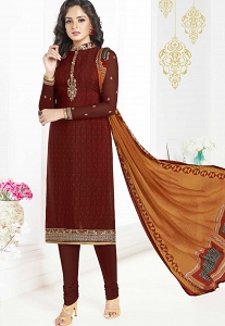 Brown French Crepe Churidar Suit - 3606