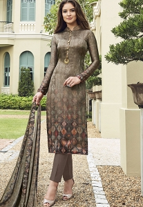 Multi Color Satin Printed Trouser Style Suit - 3708