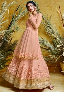 Peach Net Embroidered Long Anarkali Suit - 38033