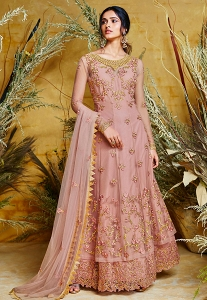 Slaty Pink Net Embroidered Long Anarkali Suit - 38035