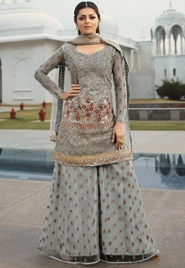 Drashti Dhami Grey Net Embroidered Palazzo Style Suit - 3804