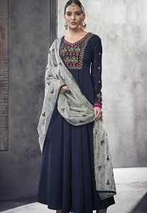 Navy Blue Maslin Cotton Long Anarkali Gown Style Suit - 39007