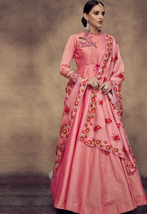 Pink Tapeta And Satin Silk Embroidered Readymade Anarkali Gown - 39017