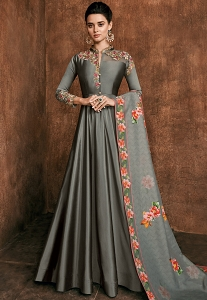 Grey Rayon Long Embroidered Indowestern Anarkali Suit - 39033