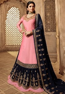 Drashti Dhami Pink & Blue Satin-Georgette Embroidered Lehenga Style Suit - 3906