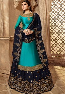 Drashti Dhami Blue Satin-Georgette Embroidered Lehenga Style Suit - 3908