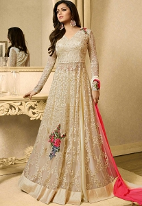 Drashti Dhami Cream Net Floor Length Lehenga Style Anarkali Suit - 3923