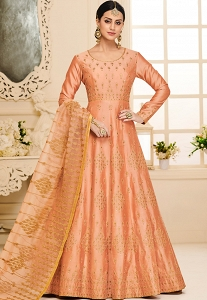 Peach Silk Embroidered Long Anarkali Suit - 40002
