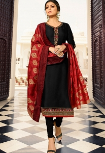 Drashti Dhami Black Satin Georgette Straight Churidar Bollywood Suit - 4003