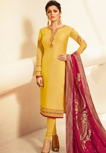 Drashti Dhami Yellow Satin Georgette Straight Churidar Bollywood Suit - 4004