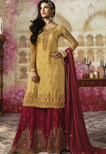 Yellow Georgette Sharara Style Pakistani Suit - 4008