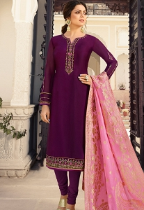 Drashti Dhami Purple Satin Georgette Straight Churidar Bollywood Suit - 4009