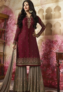 Maroon Georgette Sharara Style Pakistani Suit - 4012