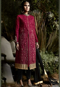 Maroon Georgette Embroidered Trouser Style Suit - 4051