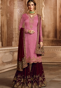 Pink Satin Georgette Embroidered Sharara Style Pakistani Suit - 46073