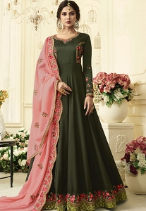 Jennifer Winget Dark Green Silk Floor Length Anarkali Suit - 408